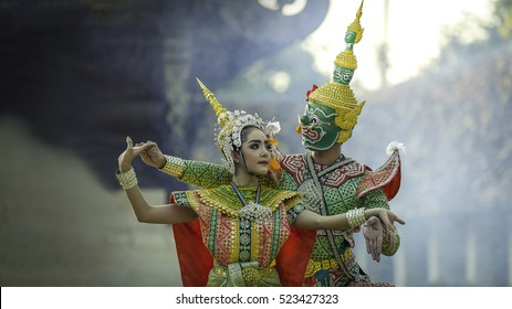 Art culture Thailand Dancing in masked khon Tos-Sa-Kan and Nang Montra