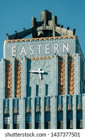Art deco architectural details of the Eastern Columbia Building in downtown Los Angeles, California