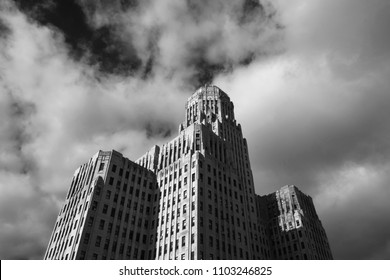 Art Deco Buffalo City Hall, seat of municipal government in downtown Buffalo New York. Art Deco masterpiece, tallest building in upstate New York, designed in 1931, black and white.