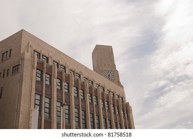 An Art Deco Building and Clocktower in Blackpool England