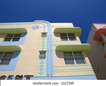 An Art Deco building on Ocean Avenue in South Beach, Miami, Florida.