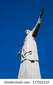The art deco Christ the Redeemer statue in Rio de Janeiro with a clear blue sky