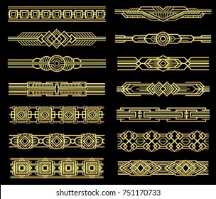 Art deco line borders set in 1920s graphic style. Vintage border pattern, illustration of frame golden baroque