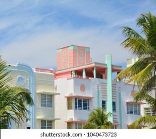 Art Deco style architecture in Miami Beach, South Beach, Ocean drive