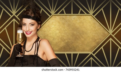 Art deco style new year party girl with golden decorations.