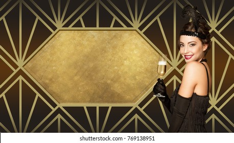 Art deco style new year party girl on golden patterns.