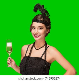 Art deco style party girl on bright green screen background for easy isolation.