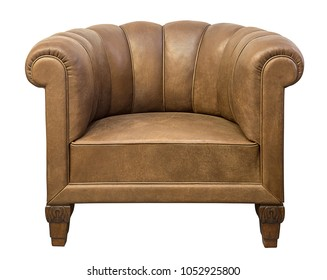 Art deco styled brown vintage armchair isolated on white background