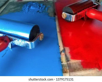 Art design creative studio detail of tools and color paints red and blue