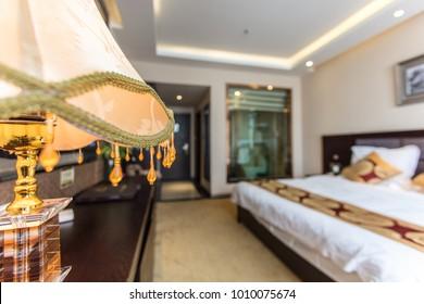 Art design lamp in comfortable hotel room