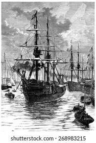 Art and Discovery leaving the harbor of Portsmouth, vintage engraved illustration. Journal des Voyage, Travel Journal, (1880-81).