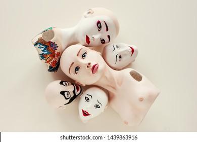 Art dolls, human face, modern sculpture