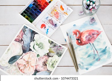 art of drawing. handmade craft. watercolor masterpiece of a talented painter. beautiful floral and animal design