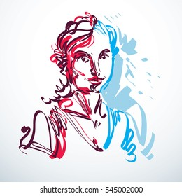 art drawing, portrait of romantic girl isolated on white, face features. Minimal art graphic illustration.