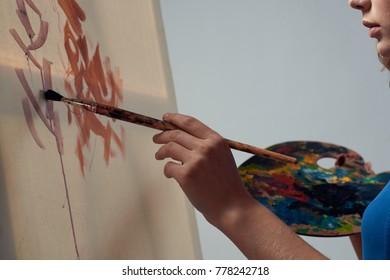 art, easel, paints, brushes, art