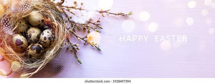 Art Osterbanner oder Grußkartenhintergrund; Eier in Ziernest und Frühlingsblumen.