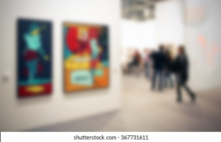 Art exhibition background with an intentional blur effect applied.