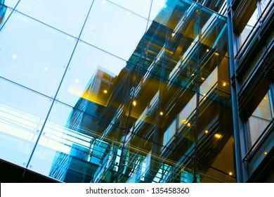 art exterior of modern glass business center