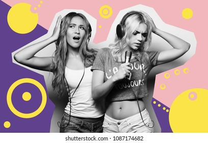 art, fashion and people concept: beauty hipster girls with a microphone singing and having fun over art colorful background, Fashion collage.