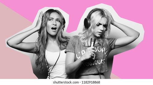 art, fashion and people concept: beauty hipster girls with a microphone singing and having fun over art colorful background