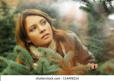 Art fashion portrait of beautiful woman, fantasy surprise concept