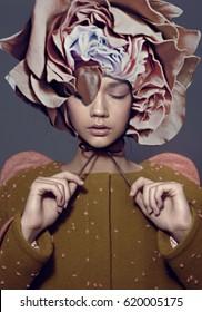art fashion portrait vogue model  flower collage