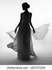 Art fashion studio photo of beautiful elegant woman in blowing dress. Fashion style of flowing dress