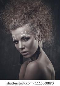Art Female portrait with stylish make up
