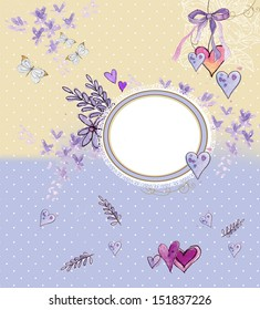 art floral  background with flower's, butterfly , bird's and banner for text