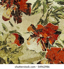 art floral grunge graphic background with red and orange peons