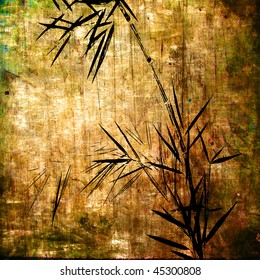 art floral vintage grunge colorful background with young bamboo in brown, green, old gold and black colors