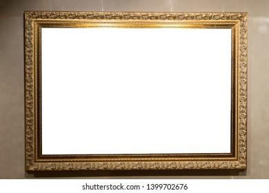 Art gallery. Antique Golden painting frame.