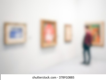 Art gallery generic view. Background with an intentional blur effect applied.