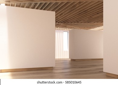 Art gallery interior in chocolate tones. Beige walls, wooden floor and ceiling. Side view. Concept of modern art exhibition. 3d rendering, mock up