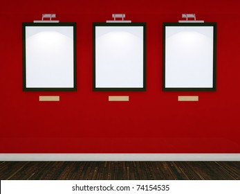 Art gallery with three picture frames and lights with red wall and realistic floor. 3d illustration