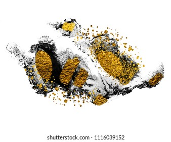 Art and Gold. Natural luxury. Black paint stroke texture on white paper. Abstract hand painted golden background for greeting, gift, wedding, invitation, birthday card. Magic abstract artwork.