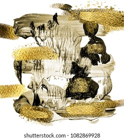 Art and Gold. Trendy color with golden paint and sequins. Very beautiful abstraction. Multi-coloured spot, acrylic paint, modern art, hand drawn painting, contemporary art.