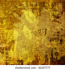 art grunge monochrome golden autumn background with leaves and grasses pattern