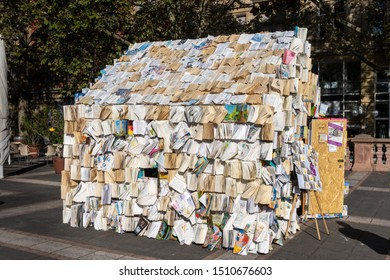 Art installation: house made of books - Wiesbaden, Germany - September 20, 2019