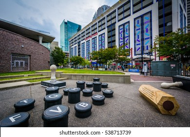 Art installation and modern buildings in Uptown Charlotte, North Carolina.