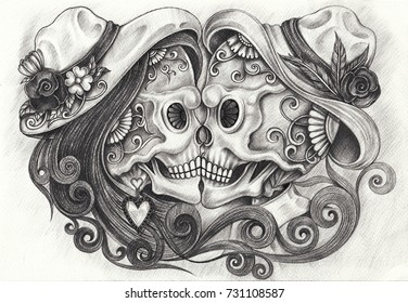 Art in love skulls day of the dead. Hand pencil drawing on paper.