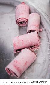 art of making Thai ice-cream in the street, strawberry rolls.