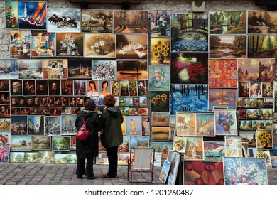 a art market shop at the Rynek Glowny square in the old town of Cracow in Poland in east Europe.   Poland, Cracow, May, 2009