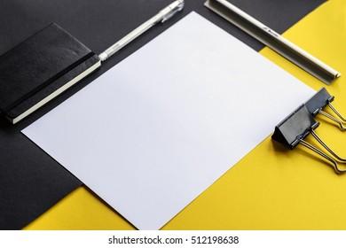 art mockup. colorful mockup for artists. Desktop workplace designer, artist. modern trend template for advertising. Mockup image with blank sketchbook. Blank template for sketch, hand drawn projects