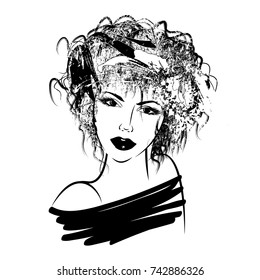 art monochrome illustration with face of beautiful girl with black floral curly hair, isolated on white background in graphic style