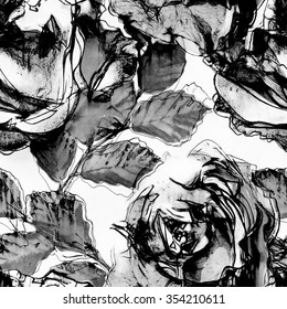 art monochrome white and black vintage watercolor and graphic floral seamless pattern with roses isolated on white background