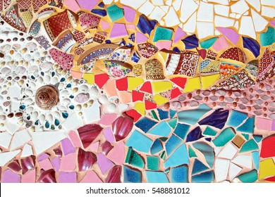 Art mosaic glass on the wall, mosaic background. colorful mosaic. texture mosaic.