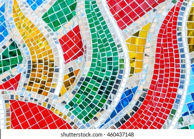 Art mosaic glass or seamless glass mosaic on the wall, glass mosaic background.