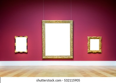 Art Museum Frame Wall Ornate Minimal Design White Isolated Clipping Path Template