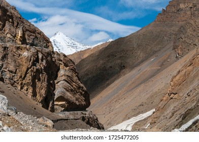 The art of Nature looking like face and the crowny snowy mountain, Spiti,  HP, India.